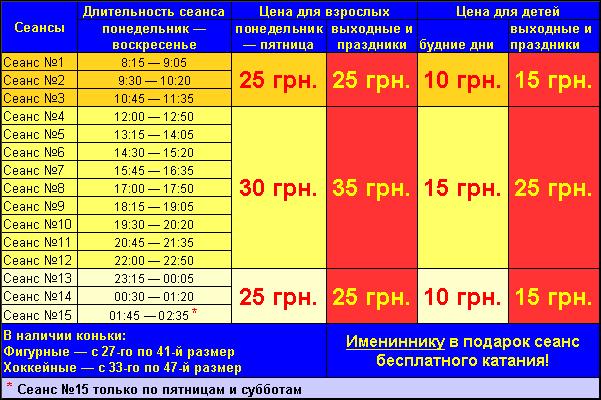 Расписание и стоимость сеанса
