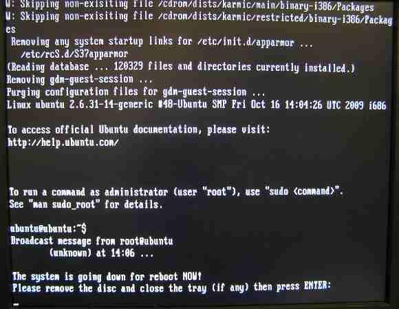 Установка Ubuntu 9.10 - Перезагрузка
