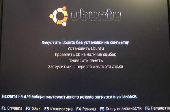 Установка Ubuntu 9.10 - меню выбора