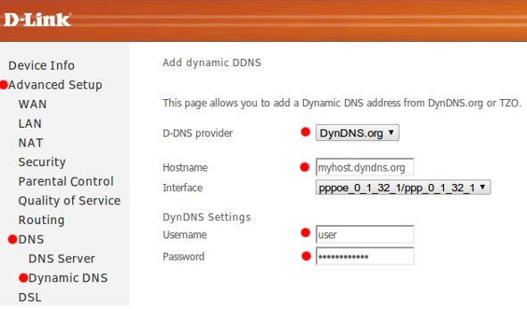 Настройки DynDNS модема Dlink