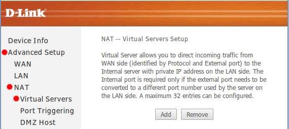 D-Link DSL-2640U - перенаправление портов