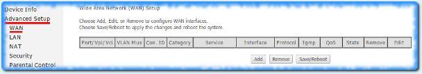 Пункт меню wan в ADSL-модеме D-link