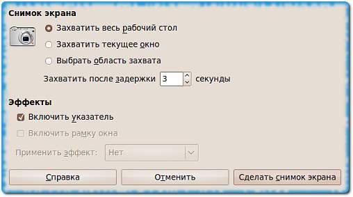 Снимок экрана с задержкой