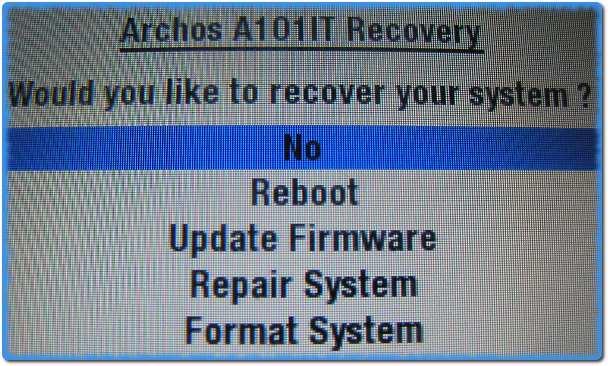 Меню восстановления планшета Archos 101 IT