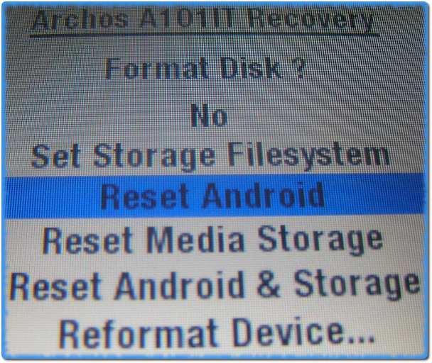 Меню сброса системы Android в планшете Archos
