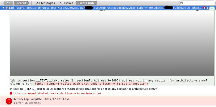 xCode 4.4.1 linker command faild